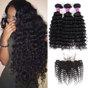 Soft Feel Hair Brazilian Deep Wave Virgin Hair with Frontal 13×4 Ear to Ear Lace Frontal Closure with 8a Deep Curly Human Hair 3 Bundles