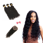 Deep Wave Hair Bundles with 4 4 Closure of Free Part Hair Weaves 7a Brazilian Virgin Hair Weave 100% Human Hair Extensions 8-70cm Natural Black Colour Weft for Ladies