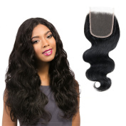 Brazilian Closure Only Body Wave,Zing Silky Closure Human Hair 4x 4 Free Part 100% Unprocessed Remy Hair Natural Black Colour