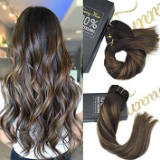 Sunny Dip Dye Clip in Hair Extensions Remy Human Hair Highlight Chestnut Brown mixed Dark Brown Balayage Full Head Clip in Extension 41cm 9pcs/140g