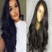 Andria Hair Body Wave Human Hair Wigs Natural Black 100% Brazilian Virgin Hair Glueless Full Lace Wigs for Black Women with Baby Hair and Bleached Knots