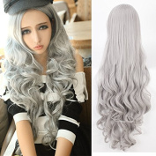 Silver-grey wig wig fashion wig European and American fashion wigs - fashionable wigs hairpieces wigs Harajuku long curly hair long hair daily silver