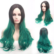 Theatrical wig European and American popular green long curly wig COS stage female hair - theatrical wig fashion green long curly hair wigs women hair theatrical wig