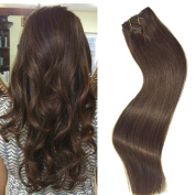 Clip in Hair Extensions Medium Brown Real Hair 7 Pieces 70g Silky Straight Weft Remy Human Hair