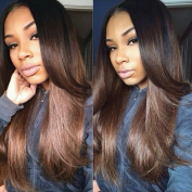 TopFeeling Brown Hair Ombre Wigs For Black Women Human Hair Lace Front Wigs With Baby Hair Colour #1b/#8 Silky Straight