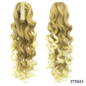 PrettyWit 60cm Clip In on Claw Ponytail Hair Extensions Curly Wave Synthetic Hairpiece Wig