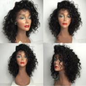 Glueless Lace Front Curly Human Hair Wigs Brazilian Virgin Human Hair Short Curly Wigs for Black Women Natural Colour