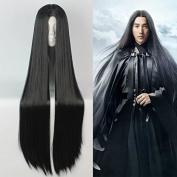 "Mcoser 90CM 35.43"" Long Black Straight ONE PIECE-Boa Hankokku Sailor Moon Crystal Cosplay Wig"
