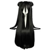 "Mcoser New 80CM 31.24"" Long Black Straight Two Contractings Cosplay Wig"
