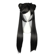 "Mcoser 80CM 31.24"" Long Black Straight Two Contractings Cosplay Wig"