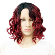 GX Beauty Women Short Wavy Synthetic Red Ombre Wig Black Root with a Free Wig Cap