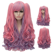 Colorwigy Pink.Multi-colour Lolita Long Curly Clip on Ponytails Cosplay Costume Wig for Cosplay Wig Party Wig