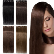 Clip in hair extensions 100% Remy Human Hair Extensions Straight 4pcs 40g