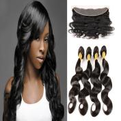 Lace Frontal Closure 4 Bundles Free Part Ear To Ear 13X4 Brazilian 7A Body Wave 100% Unprocessed Virgin Human Hair