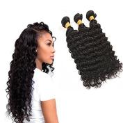 Deep Wave Bundles, 7a Brazilian Virgin Hair Weave 3 Bundles 100% Human Hair Extensions 8-70cm Natural Black Colour Weft for Ladies