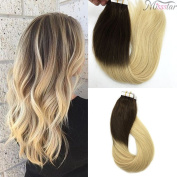 Misstar Ombre Brown to Blonde Tape in Remy Human Hair 20pcs 50g 50cm Seamless Ombre Hair Extensions Tape in Hair