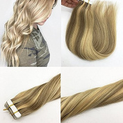 Misstar 46cm Ombre Tape in Human Hair Extensions Coloured Light Ash Blonde Highlighted Golden Blonde Samless Skin Tape Human Hair Extensions 20pcs 50g