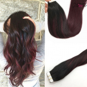 Misstar Balayage Ombre Tape in Hair Extensions Human Hair 20pcs/50g Ombre Black to Red Real Balayage Remy Human Hair Extensions 60cm