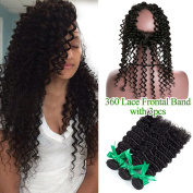 Missivy 360 Lace Band Frontal Closure With Bundles 8A Brazilian Deep Curly Wave With Full Frontals 360 Circular Lace Frontal With Virgin Human Hair 4pcs/lots