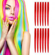 MIMAN 50cm Party Highlights Clip in Synthetic Hair Extensions 12 PCs Red Straight Hairpieces