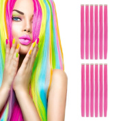 MIMAN 50cm Party Highlights Clip in Synthetic Hair Extensions 12 PCs Hot Pink Straight Hairpieces