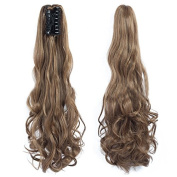 Ponytail Clip in Hair Extensions 60cm Synthetic Ponytail Wigs 120 Grammes Dark Blonde Long Natural Claw Clip Curly Ponytail Hair Piece