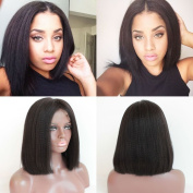 FOND Brazilian Virgin Hair Short Bob Lace Front Wigs with Baby Hair for Black Women Yaki Straight Natural Black Colour 130% Density