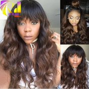 RJ Hair 150% Density Body Wave Lace Front Human Hair Wig with Bangs Brazilian Brown Ombre Lace Front Wigs