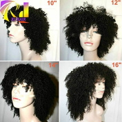 RJ Hair Lace Front Wig Afro Kinky Curly with Bangs Malaysian Virgin Afro Curly Lace Front Wigs for Black Women