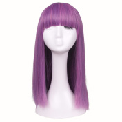 ColorGround Kids Long Straight Purple Halloween Cosplay Wig
