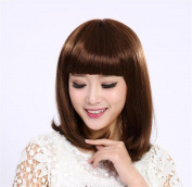 Fashion Straight Hair Wig with Flat Fringe Shoulder Length