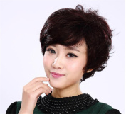 Comfort Short Curly Synthetic Hair Wig for Old Women Very Natural Looking-Net Size Adjustable