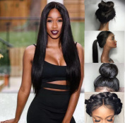 Evlynn Hair Lace Front Wigs For Black Women Synthetic Long Straight Swiss Natural Black Wigs With Baby Hair Heat Resistant Glueless Lace Wigs 60cm