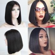 FOND Brazilian Human Hair Wigs Short Bob Wig with Baby Hair for Black Women Natural Black Colour