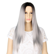 GX BeautyGrey Ombre Wigs Dark Roots Long Straight Synthetic Two Tone Grey Wigs for Women + a wig cap
