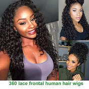 Giannay Hair Pre Plucked 360 Lace Frontal Wig 150% 180% 250% Density Curly 8A Brazilian Virgin Human Hair 360 Lace Wigs with Baby Hair Natural Hairline for Black Women