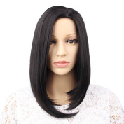 GX Beauty Straight Bob Wig Shoulder Length Wigs for Women Fashion Synthetic Wig Heat Resistant Wigs Black