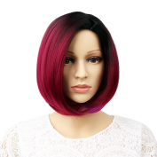 GX Beauty 30cm Ombre Wig Short Straight Wig Heat Resistant Synthetic Cosplay Daily Party Wig for Women with Free Wig Cap