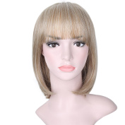 AISI HAIR Short Bob Wigs With Bangs Mixed Colour Heat Resistant Fibre Wig Synthetic Natural Looking Wig for Women