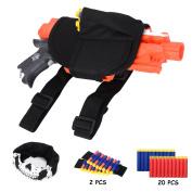 Afala Tactical Waist Bag Blaster Holster and Darts Wristbands Kit for Nerf N-strike Elite Blaster