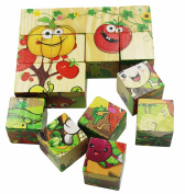 Aibearty Wooden Blocks Cube Pattern Vegetables Jigsaw Puzzles Toddler Toys