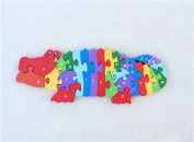 Deerbird Wooden Puzzles Jigsaw Crocodile Safe and Non-toxic Baby Puzzle Learning Numbers Building Blocks Enhance baby's Intelligence