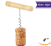 T-Style Corkscrew With Wooden Handle, Professional Waiters Old-Fashioned Wine Opener, Commercial Grade Bar & Kitchen Tools