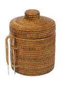 La Jolla Rattan Ice Bucket with Ice Tongs, Honey Brown