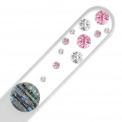 Hand Decorated Crystal Glass Nail File with Elements, Czech Tempered Glass, Lifetime Guaranty, in Suede Sleeve