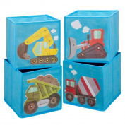 Ava & Kings Foldable Fabric Storage Cube Container Bins Shelf Drawers - Kids' Light Blue Construction Theme Toy Box Organiser for Boys Girls - Set of 4