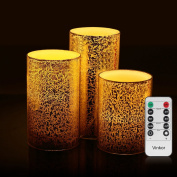 Vinkor Flameless Candles Gold Mercury Glass Flameless Pillar Led Wax Candles - Holiday Design Ideal For Ambient & Romantic Atmosphere Timer & Remote Controlled Set of 3