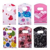 WXLAA 50pcs Wholesale Pretty Mixed Pattern Plastic Gifts Mini Bags Shopping Bags