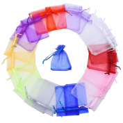 Mudder 100 Pieces Multi Coloured Organza Gift Bags Wedding Favour Bags Jewellery Pouches, Small Size