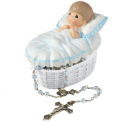 Precious Moments, Baptised In His Name Resin Box With Rosary, For Boy, 153407